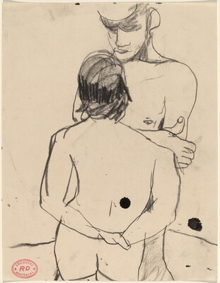 Untitled [standing male and female nude facing each other]