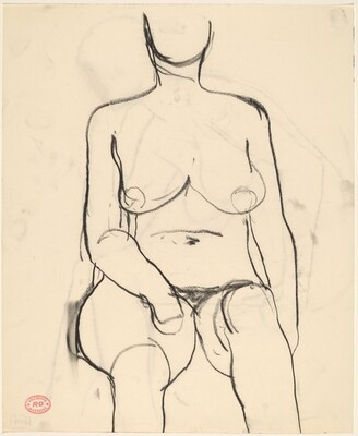 Untitled [front view of a seated female nude]