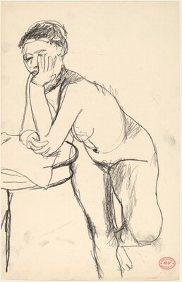 Untitled [standing female nude leaning on table]