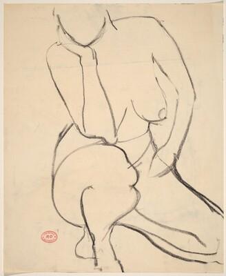 Untitled [kneeling female nude]