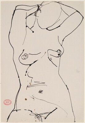Untitled [female nude with arms behind head]