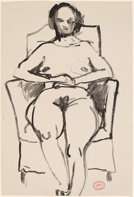 Untitled [female nude in armchair: front view]