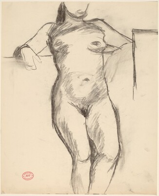 Untitled [female nude leaning against wall]