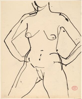 Untitled [standing female nude with arms akimbo]