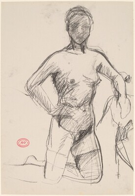 Untitled [kneeling female nude with her right hand on her hip]