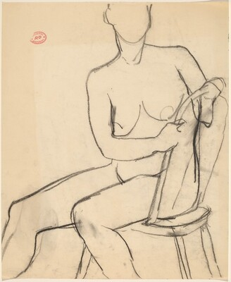 Untitled [seated female nude with hands clasping chair back]