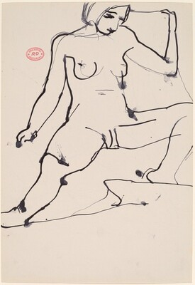 Untitled [seated female nude with legs apart] [recto]