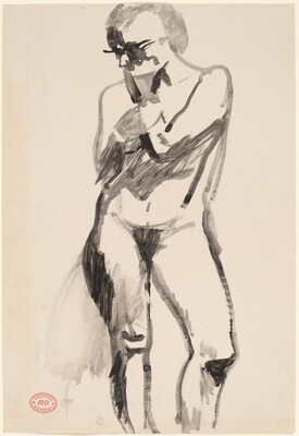 Untitled [standing female nude with left hand raised to chin]