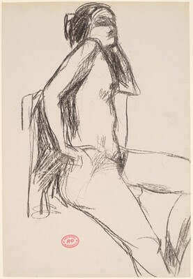 Untitled [seated female nude with hand to hip]