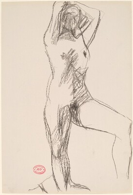 Untitled [standing female nude with hands behind head]