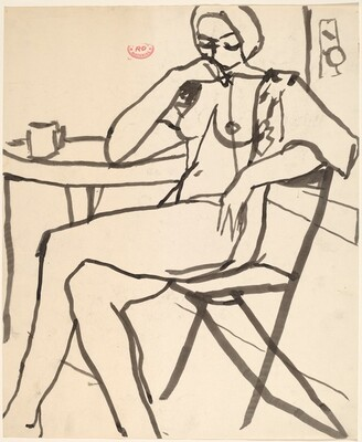 Untitled [female nude seated at table]