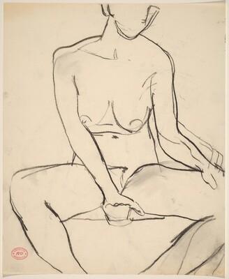Untitled [seated female nude]