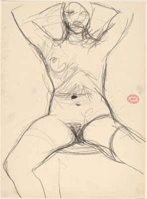 Untitled [seated female nude with arms raised]