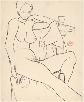 Untitled [female nude seated beside a table with a glass]
