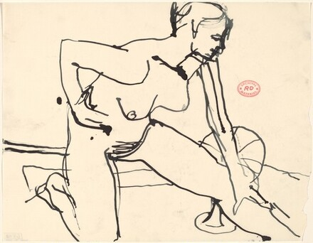 Untitled [female nude kneeling and stretching]