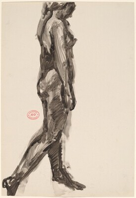 Untitled [striding female nude: side view]