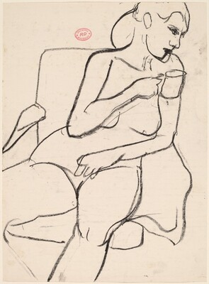 Untitled [seated female nude holding a cup]