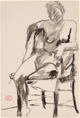 Untitled [seated female nude with right arm over chair back]