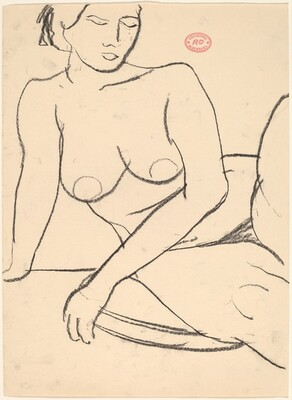 Untitled [seated female nude leaning on her right arm]