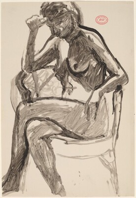 Untitled [female nude in an armchair with right hand to forehead]