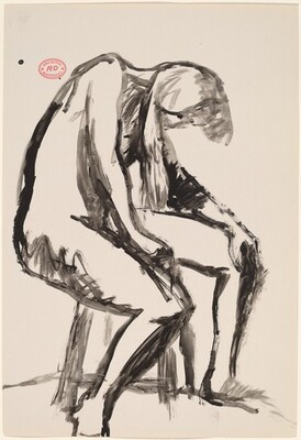 Untitled [seated female nude dipping her head]