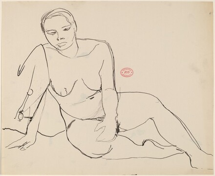 Untitled [seated female nude leaning on right arm]