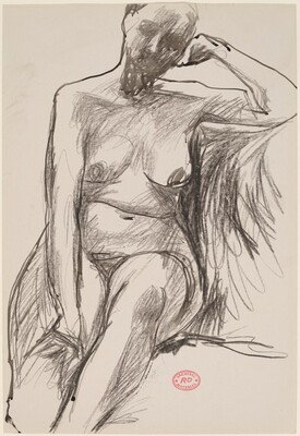 Untitled [seated female nude with resting on left arm]