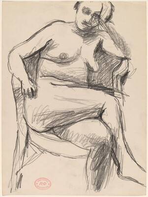 Untitled [seated nude resting her left arm on the chair back]