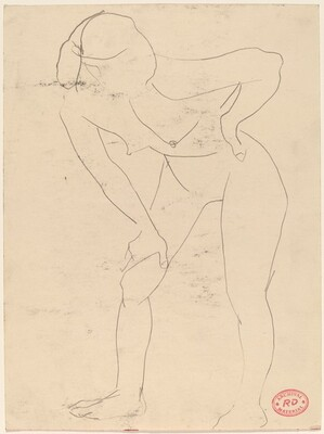 Untitled [standing female nude bending forward]