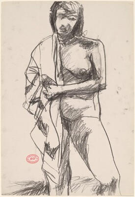 Untitled [standing female nude with drapery over right shoulder]