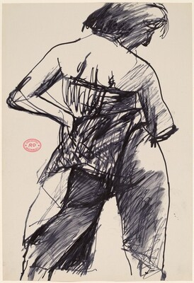 Untitled [back view of female model with hand on hip]