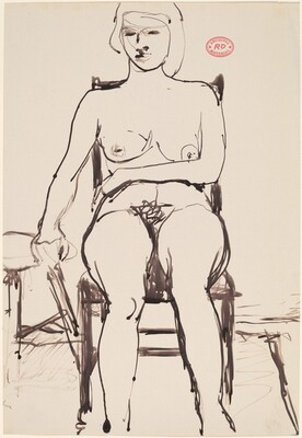 Untitled [seated female nude with hand on adjacent stool]