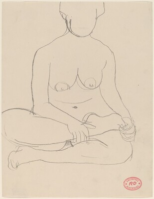 Untitled [female nude sitting cross-legged]