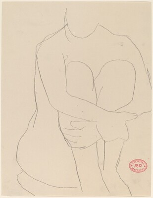 Untitled [seated nude clasping arms around legs]