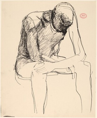 Untitled [seated male nude slumping forward]