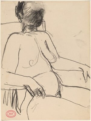 Untitled [female nude seated in armchair and facing right]