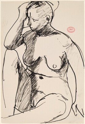 Untitled [seated female nude with right hand to forehead]