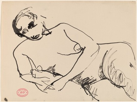 Untitled [female nude reclining with a cushion under her side]