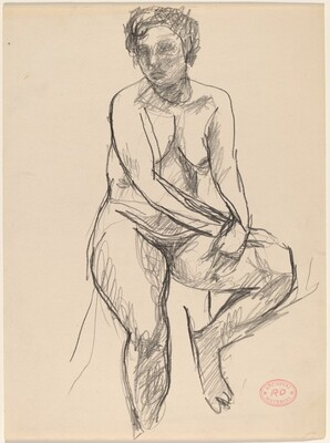 Untitled [female nude seated on a draped stool]