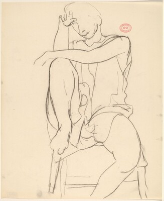 Untitled [draped model seated with right foot in chair seat]