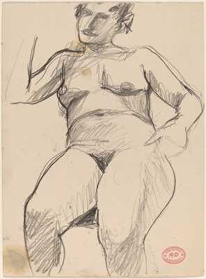 Untitled [seated female nude with one arm raised and one down]