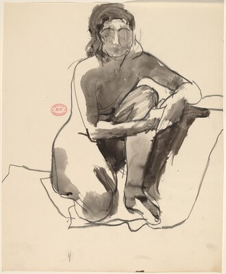 Untitled [kneeling female nude with clasped hands]