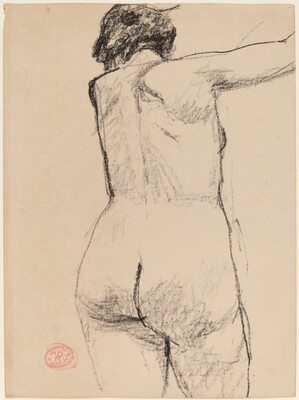 Untitled [back view of female nude with arm raised]