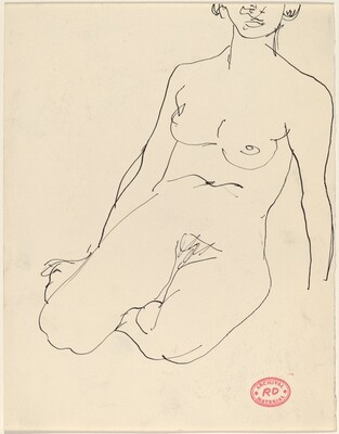 Untitled [female nude seated on her knees]