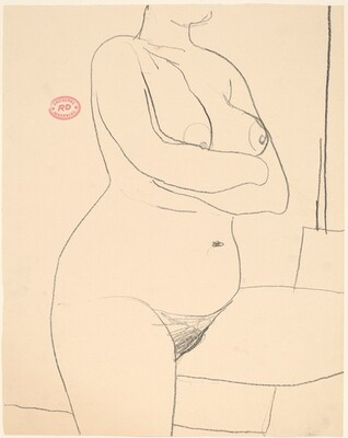 Untitled [chin to thigh view of a female nude with crossed arms]