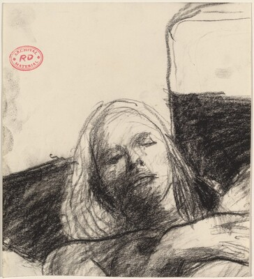 Untitled [head of a reclining woman]