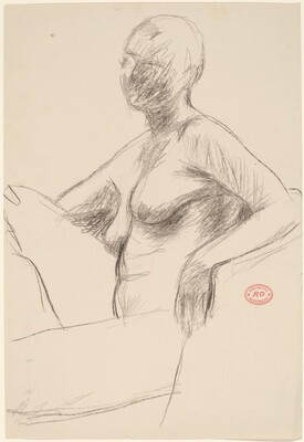 Untitled [seated female nude turning towards viewer]