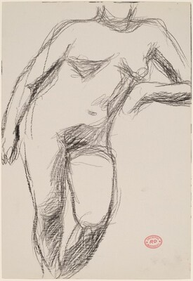 Untitled [standing female nude resting her left arm on a support]