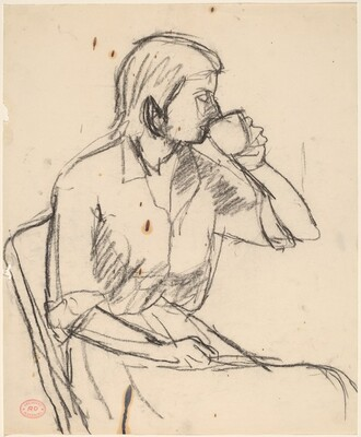 Untitled [woman drinking from cup]
