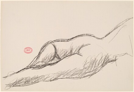 Untitled [female nude in prone position: buttocks and legs]